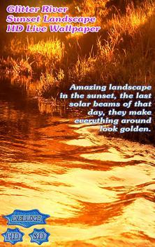 Glitter River on Golden Sunset Landscape poster