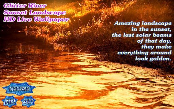 Glitter River on Golden Sunset Landscape screenshot 4