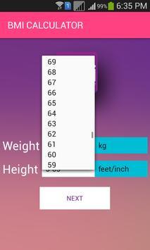BMI CALCULATOR screenshot 2