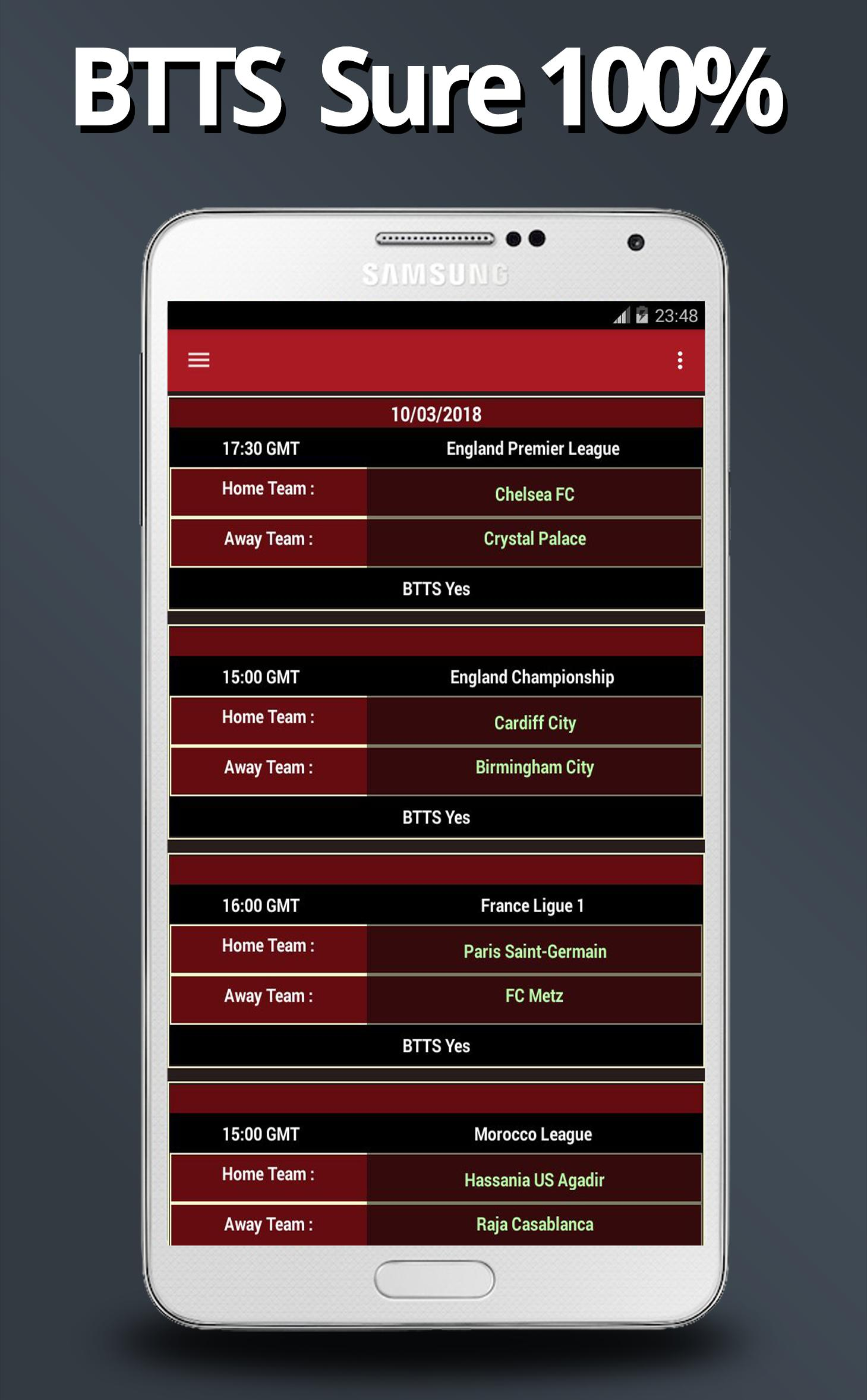 BTTS Both Teams To Score - Fixed Matches 100% for Android