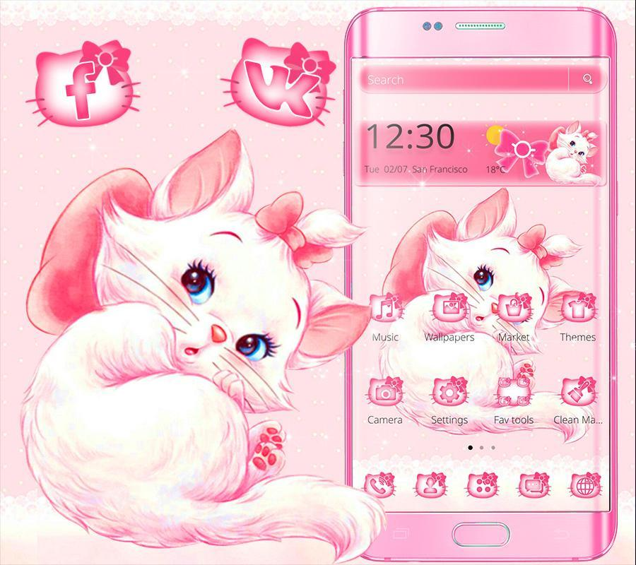 Pink Cute Kitty Cat Cartoon Theme For Android