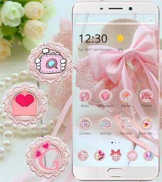 Pink Lace Ribbon Theme screenshot 2