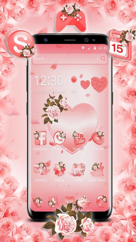 Pink Flower Love Heart Theme For Android Apk Download
