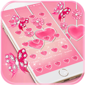 Pink Diamond Butterfly theme - pink love heart icon
