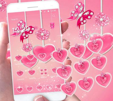 Pink Diamond Butterfly theme - pink love heart apk screenshot