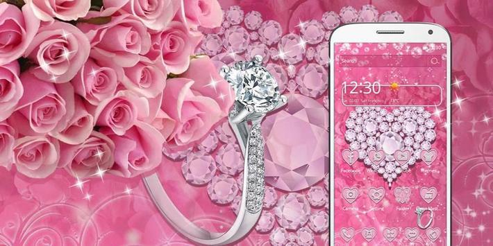 Pink Diamond Valentines Day Rose Theme screenshot 3