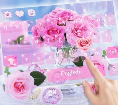 Pink Rose Keyboard Theme apk screenshot