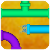 Plumbing game Pipes puzzle and twister icon