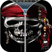 Pirates Skull zipper lock icon