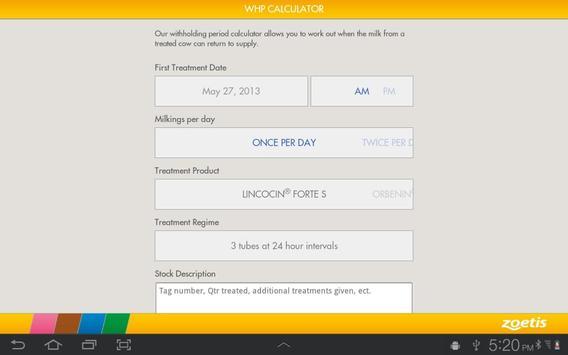 Zoetis WHP Calculator apk screenshot