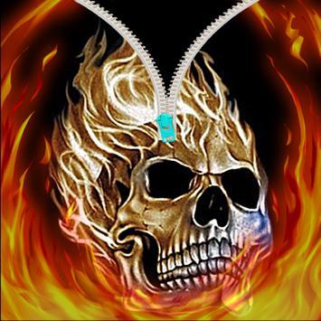 Skull zipper screen unlock poster