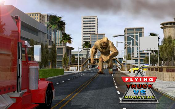 Futuristic Flying Truck vs Ugly Monsters Battle 3D poster