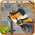Tricky Stunt Rider - Wheelie City Flying Racing 3D