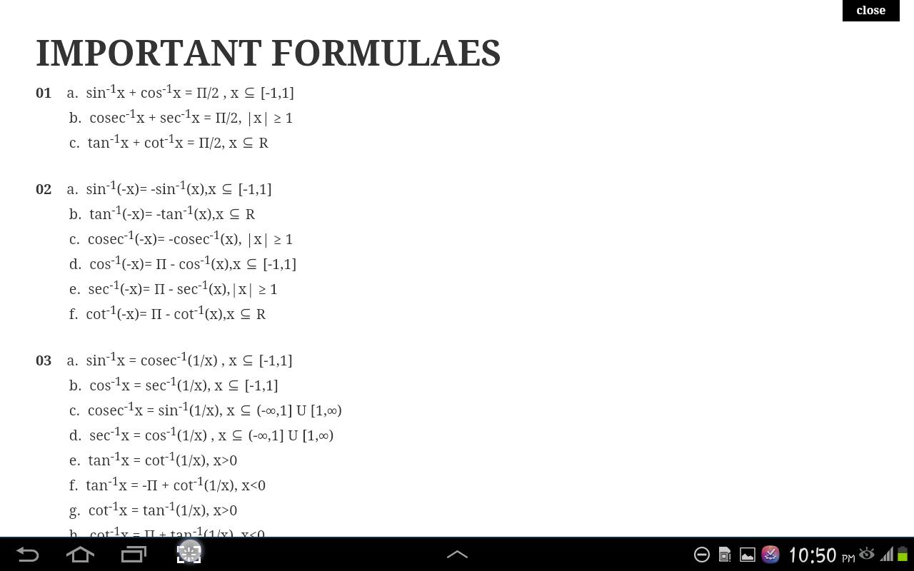 Mathematics Formulae Class XII for Android - APK Download
