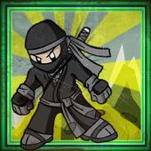Black ninja club running icon