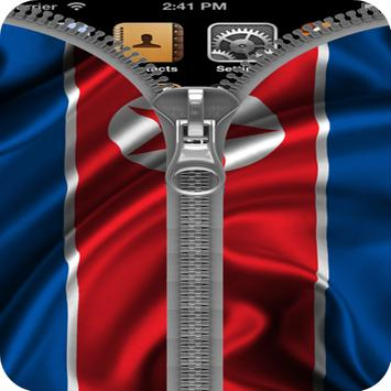 North Korea Flag Zipper Lock poster