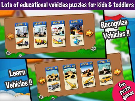 Vehicles Peg Puzzles for Kids screenshot 3