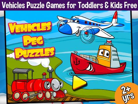 Vehicles Peg Puzzles for Kids poster