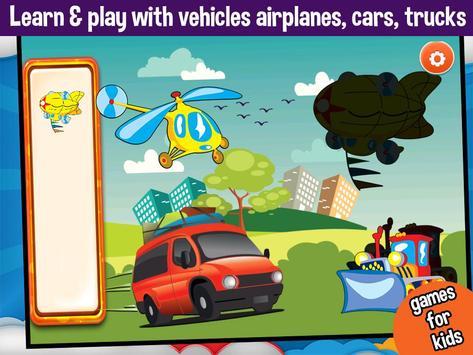 Vehicles Peg Puzzles for Kids screenshot 1