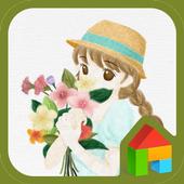 Girl holding flower dodol icon