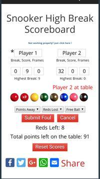 Snooker High Break Scoreboard apk screenshot