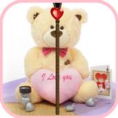 Cute Teddy Zipper Screen Lock icon