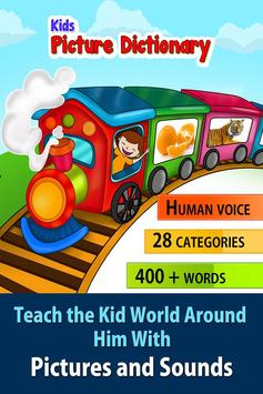 Kids picture dictionary, words poster