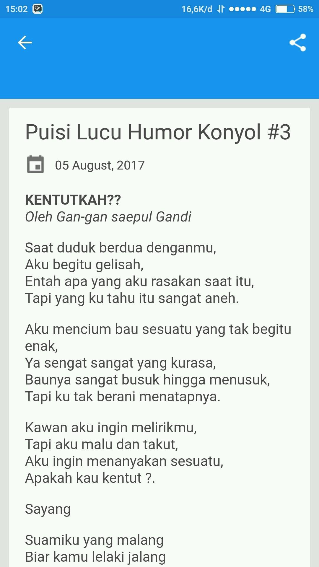Puisi Lucu Humor Konyol For Android APK Download