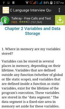C Language Interview Questions apk screenshot