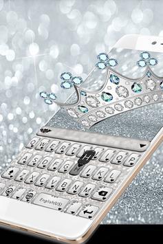 Princess Silver Crown Glitters Keyboard Theme poster