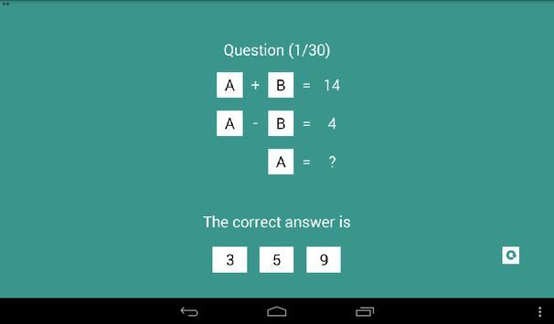 Linear Equation Quiz apk screenshot