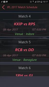 Schedule of IPL 2017 T20 apk screenshot