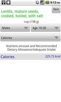 Nutrition Info App apk screenshot