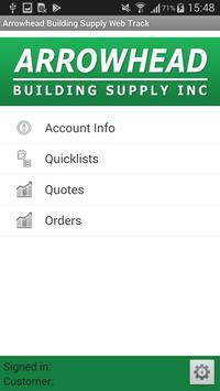 Arrowhead Building Supply Web Track screenshot 1