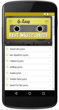 Lyrics Of G-Eazy Song apk screenshot