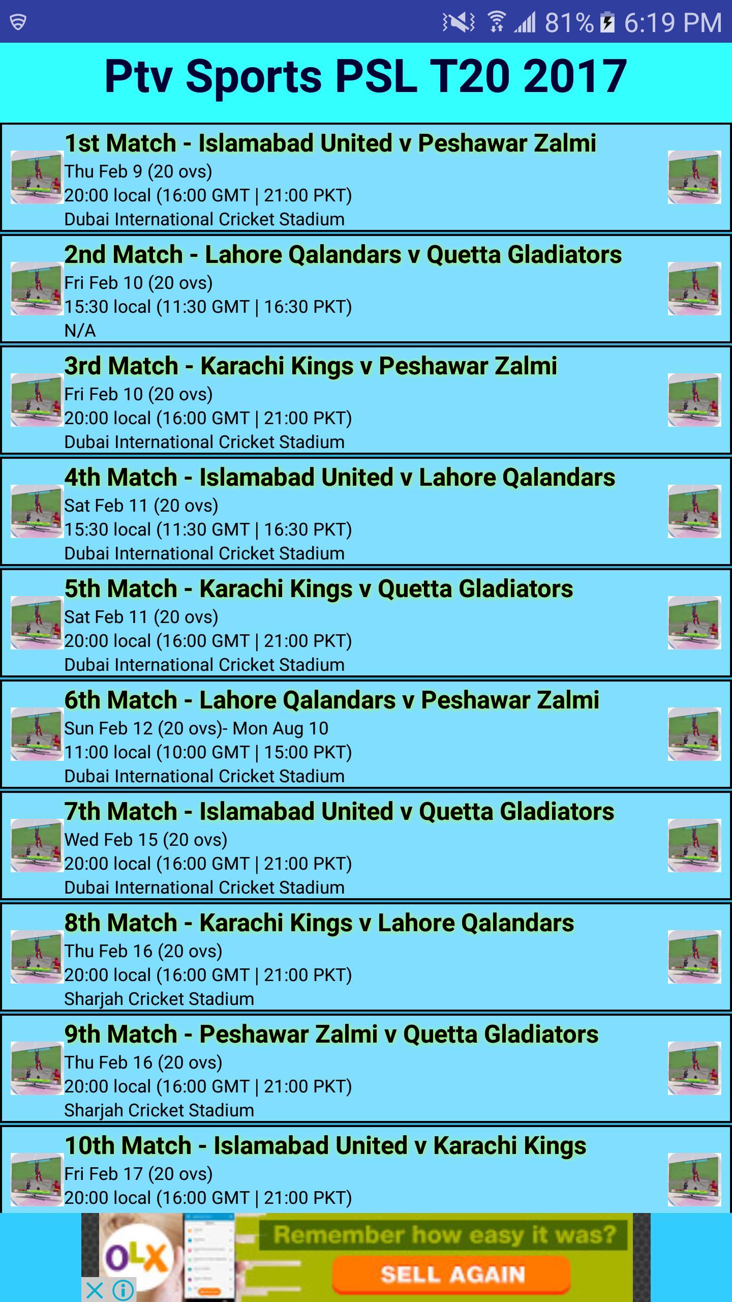 PTV Sports PSL Live Streaming 2018 Live Cricket TV pour