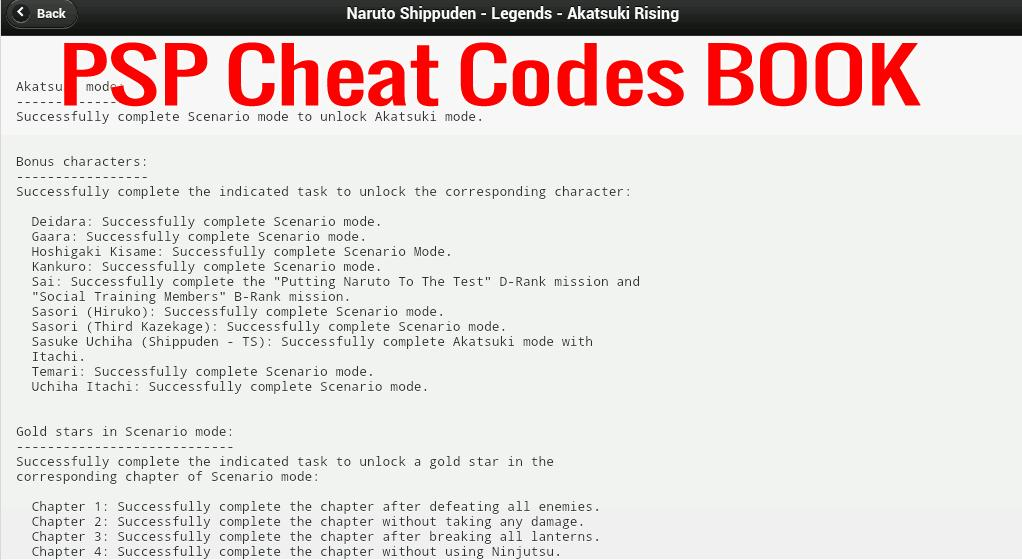 PSP Cheats Codes Book for Android - APK Download