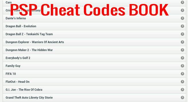 PSP Cheats Codes Book apk screenshot