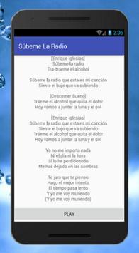 Enrique Iglesias  Subeme La Radio Letras de Musica apk screenshot