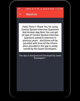 Control System Interview Question apk screenshot