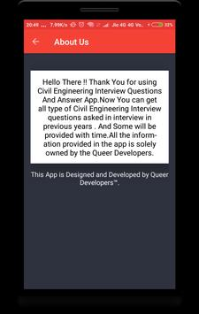 Civil Engineering Interview Question apk screenshot