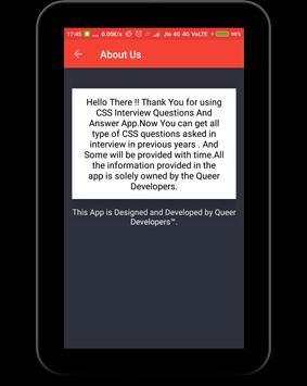 CSS Interview Questions apk screenshot