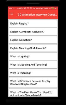 3D Animation Interview Question poster