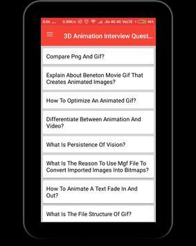 3D Animation Interview Question apk screenshot