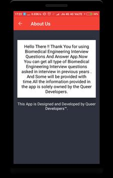 Biomedical Engineering Interview Question apk screenshot