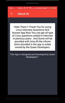 Linux Interview Questions apk screenshot