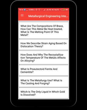 Metallurgical Engineering Interview Question screenshot 8