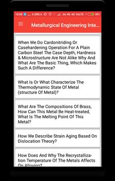Metallurgical Engineering Interview Question screenshot 1