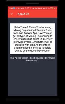 Mining Engineering Interview Question apk screenshot