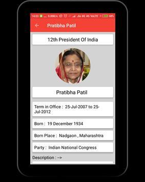 Presidents of India apk screenshot